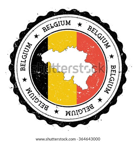 Belgium map and flag in vintage rubber stamp of country colours. Grungy travel stamp with map and flag of Belgium, vector illustration - stock vector
