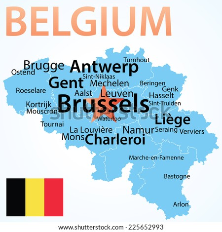 Belgium Map Largest Cities Carefully Scaled Stock Vector 225652993