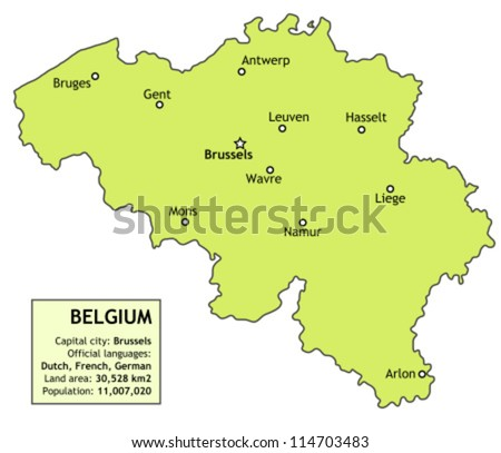 Belgium Map Major Cities Brussels Antwerp Stock Photo Photo Vector