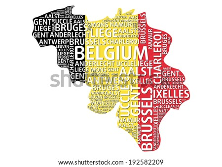 Belgium Map Word Cloud Concept Major Stock Vector HD Royalty Free