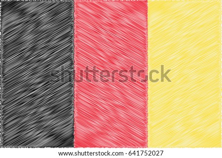 Belgium pencil drawing vector illustration flag. Using for decoration works.
