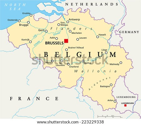 Belgium Political Map Capital Brussels National Stock Vector - Brussels belgium map