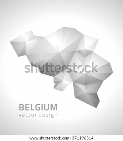 Belgium polygonal map - stock vector