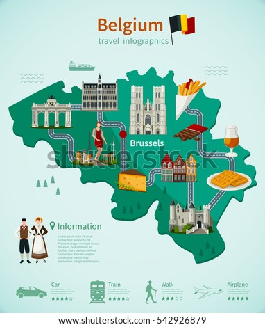belgium travel infographics with national map architecture and cuisine roads and rating of using transport vector