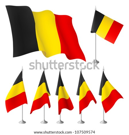 Belgium vector flags. A set of flags created using gradient meshes - stock vector