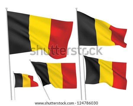 Belgium vector flags. A set of 5 wavy 3D flags created using gradient meshes. - stock vector