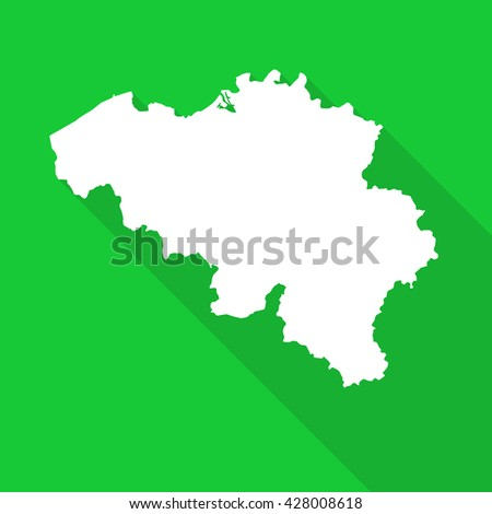 Belgium white map,border flat simple style with long shadow on green background