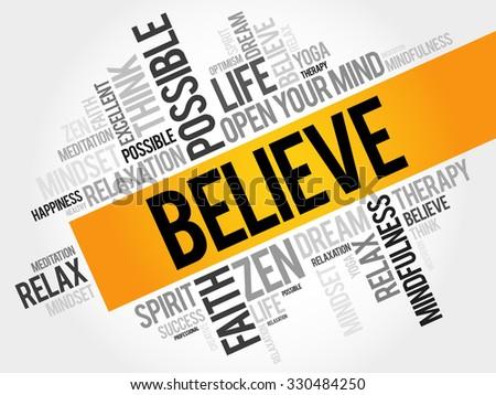 Believe word cloud concept - stock vector