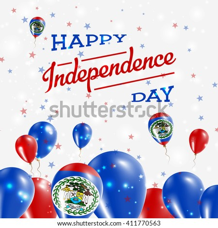 Belize Independence Day Patriotic Design. Balloons in National Colors of the Country. Happy Independence Day Vector Greeting Card.
