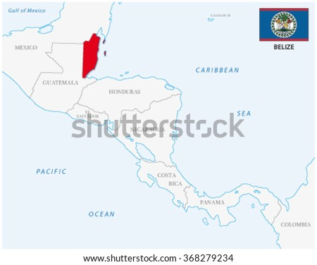 belize map with flag - stock vector