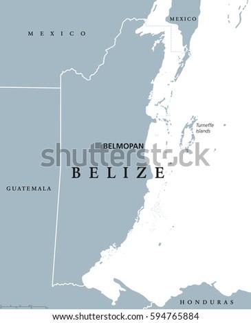 Belize Political Map Political Map Belize Stock Vector - Belize map belmopan