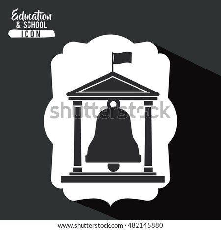 Bell and building inside frame icon. Education school learning and study theme. Black and white design. Vector illustration