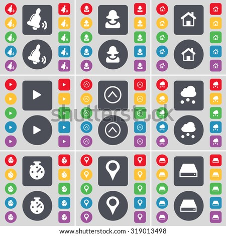Bell, Avatar, House, Media play, Arrow up, Cloud, Stop watch, Checkpoint, Hard drive icon symbol. A large set of flat, colored buttons for your design. Vector illustration - stock vector