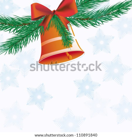 Bell Christmas bell with ribbon background snowflakes. - stock vector