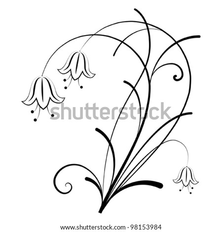 Bell Flowers Drawing Bell Flowers Stock Vector