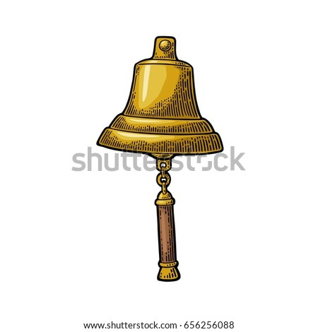Bell from sailing ship isolated on white background. Vector color vintage engraving illustration for tattoo, web and label. Hand drawn in a graphic style.