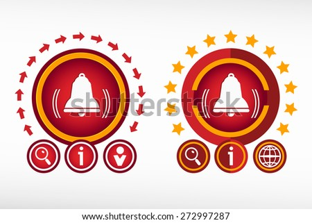 Bell icon and creative design elements. Red design concept