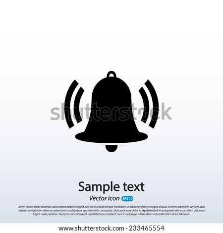 Bell icon, vector illustration. Flat design style  - stock vector
