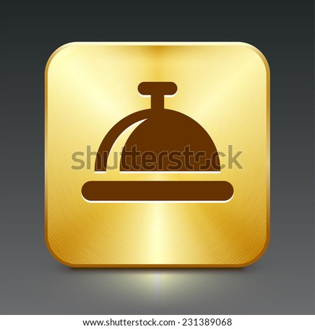 Bell on Gold Square Button