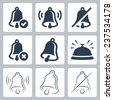 Bell related vector icon set - stock photo