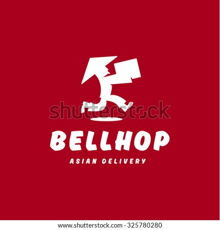 Bellhop Asian deliveryman runs speed delivery cargo box hat  flat logo icons - stock vector