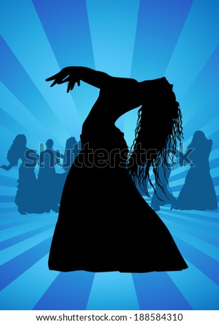 Belly dance silhouette - stock vector