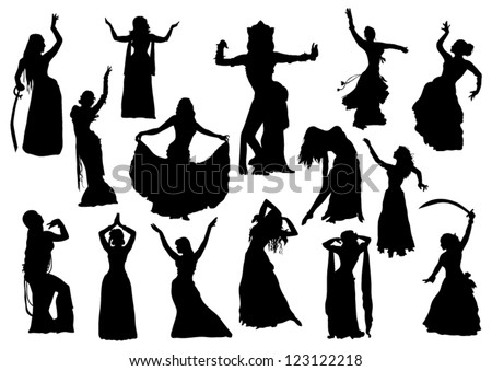 Belly dance silhouettes - stock vector