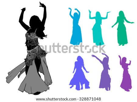 belly dancer silhouettes - stock vector