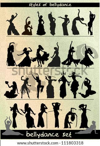 belly dancing style, vector silhouette set - stock vector