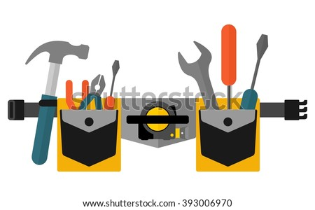 Belt with tools.Conceptual image of  tools for repair, construction and builder. Concept image of work wear. Cartoon flat vector illustration. Objects isolated on a background.  - stock vector