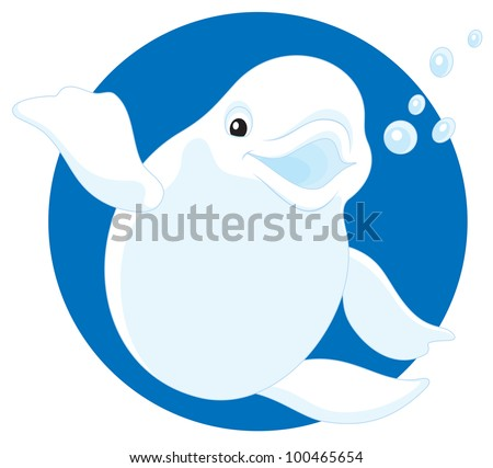 Beluga, friendly smiling polar white whale waving his fin in greeting - stock vector