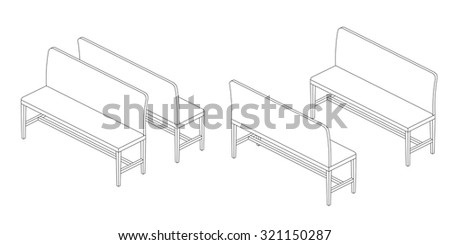 Bench illustration outline set, perspective 3d views black and white color