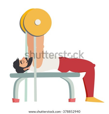 Bench press exercise. Bearded man with muscles coach in the gym. Isolated vector illustration on white background. - stock vector