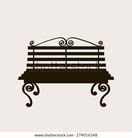 bench, vintage style, vector illustration - stock vector