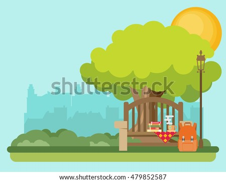 Bench with cup, bag and books under a tree in the park. Flat style vector illustration.