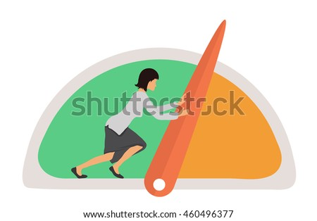 Benchmarking concept illustration. Woman and Speedometer, manometer or general indicators with needles, vector
