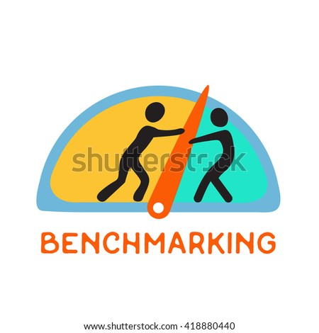 Benchmarking concept logo, Speedometer,  manometer or general indicators with needles, vector