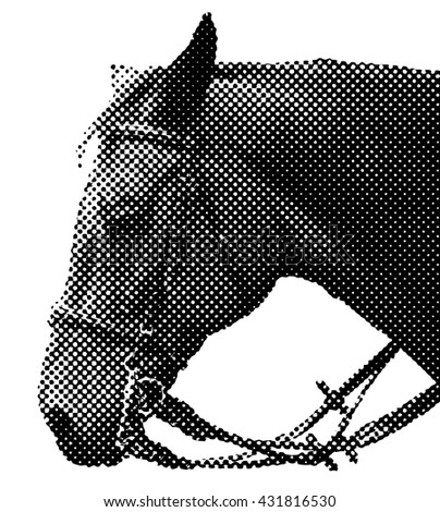 Benday dot vector illustration of a horse head.