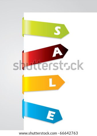 Bended tags on paper corner - stock vector