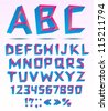 Bended three dimensional alphabet letters with numbers and punctuation. - stock vector
