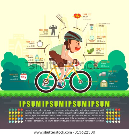 Benefits of cycling bicycle, Bicycle info graphics, Vector illustrator - stock vector
