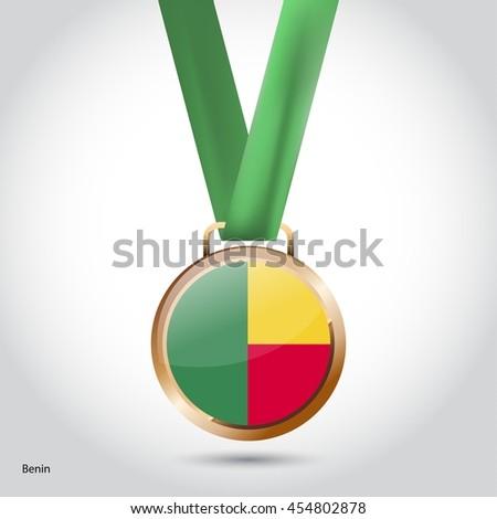 Benin Flag in Bronze Medal. Olympic Game Bronze Medal. Vector Illustration - stock vector