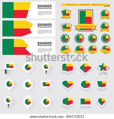 benin independence day, infographic, and label Set.