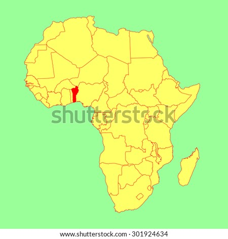Benin vector map isolated on Africa map. Editable vector map of Africa. - stock vector