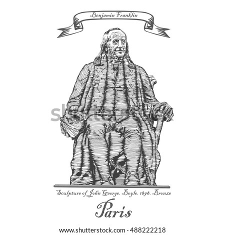 Benjamin Franklin monument in Paris. France. Vector illustration in style of engraving.