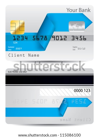 Bent blue arrow ribbon credit card design