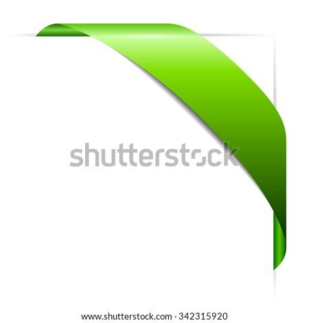 Bent green corner ribbon illustration isolated on white background - stock vector