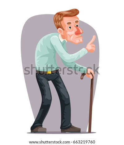 Bent Old Man Cane Wise Moral Preaching Instruction Old Cartoon Character Design Vector Illustration