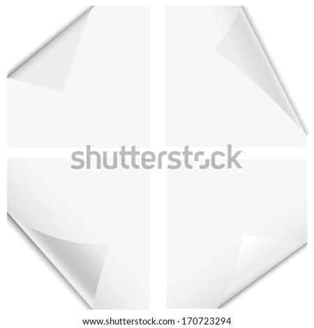Bent page corners - stock vector