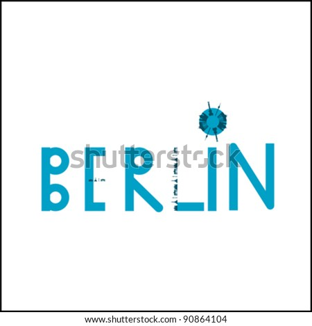 Berlin Blue Icon with Buildings - stock vector